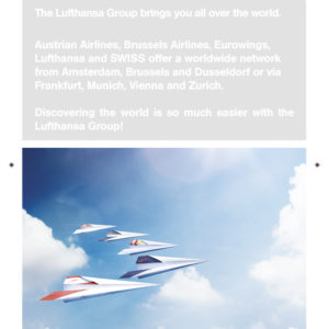 De voorzijde van een mapje voor de Lufthansa Group