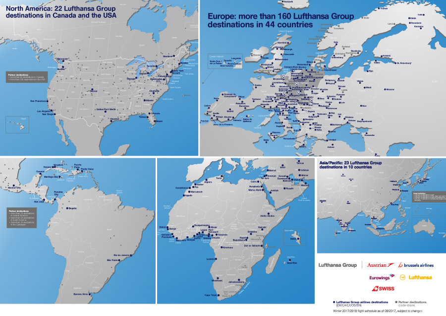 Folder met weergave van de bestemmingen per continent van de Lufthansa Group