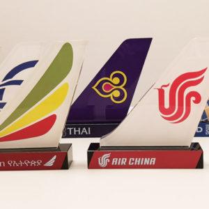 Glazen Vliegtuigstaarten - Star Alliance (18 in totaal) - Reclame - Brugge - Agates